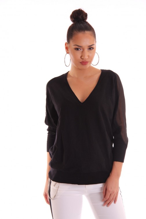 Fracomina v-neck jumper in black