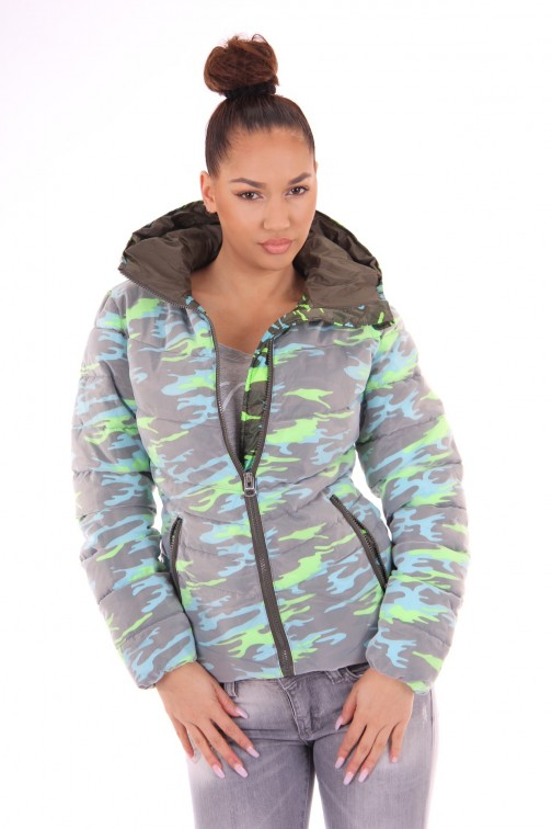 Nickelson Ono jacket in camo fluo turquoise