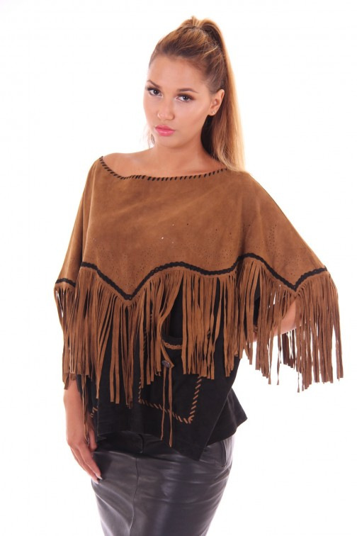 By Danie poncho in brown and black