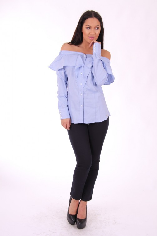 Josh V Shea off-shoulder blouse - sky blue