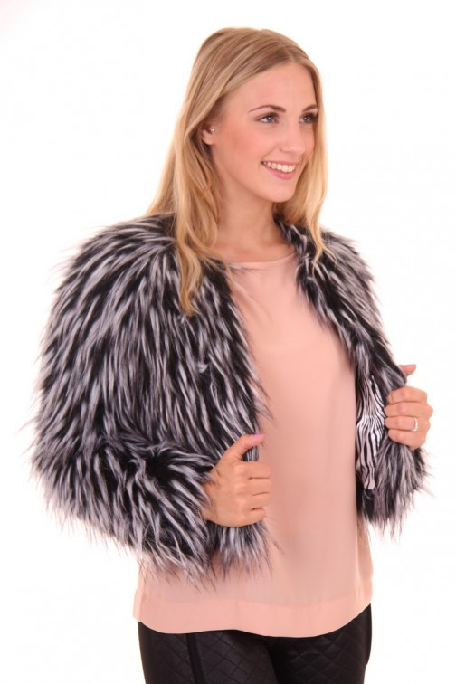 Ibana fur jacket in black-white