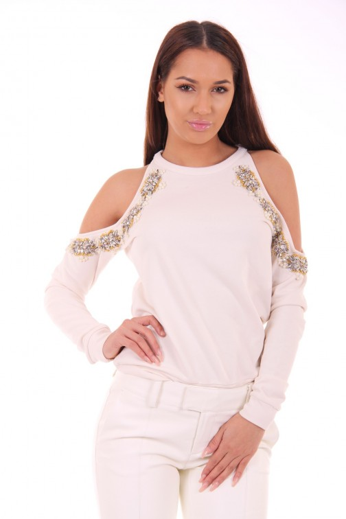 Josh V Livie openshoulder sweater in vanilla