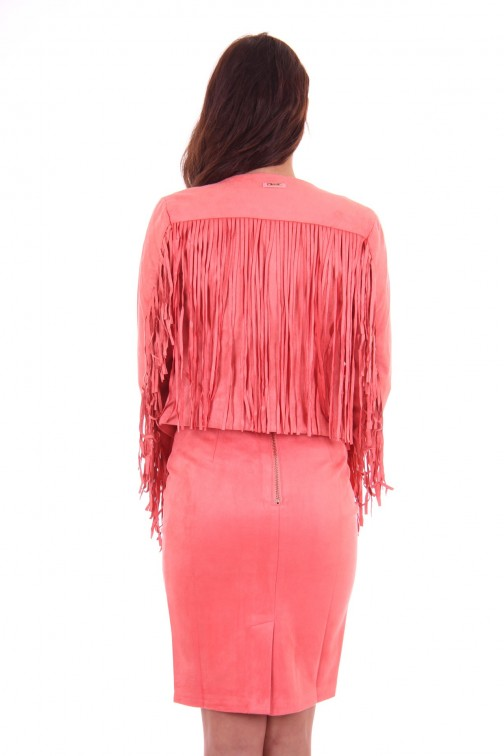 Its Given fringe jacket, Karen in coral