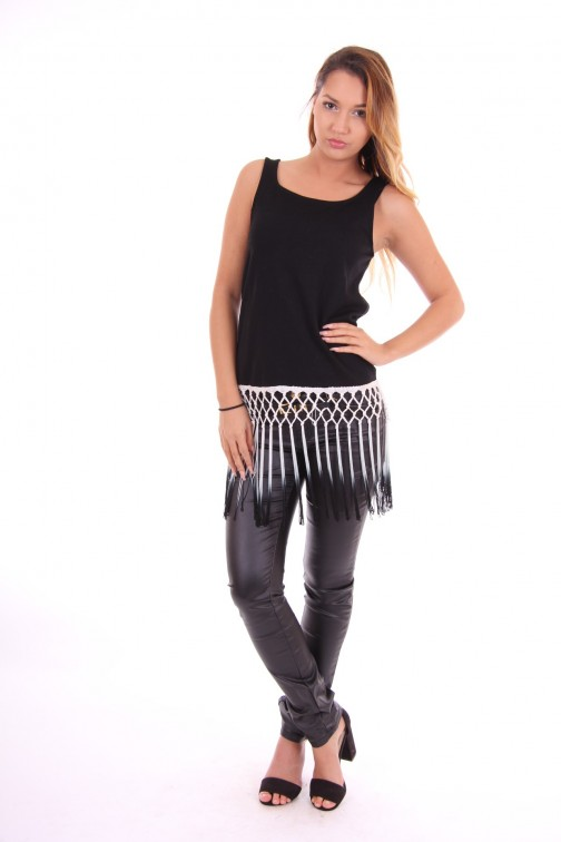 Jacky Luxury top in zwart met franje