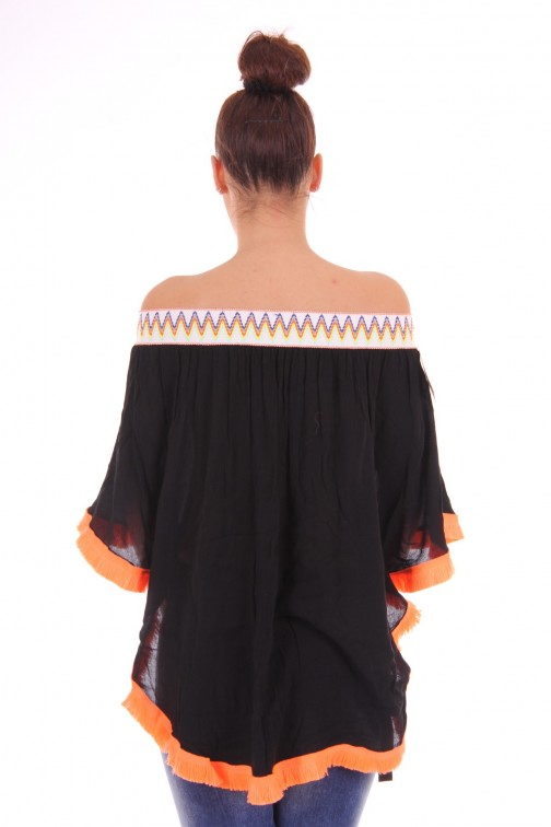 Off-shoulder tuniek met franjes in zwart