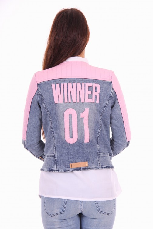 Tailor & Elbaz jeans jacket, Winner with pink leather