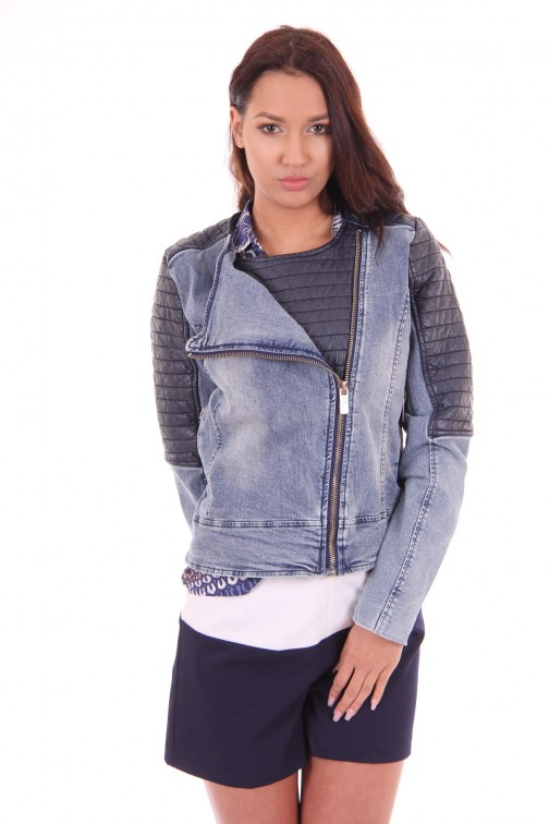 Tailor & Elbaz jeans jacket, Winner with navy leather