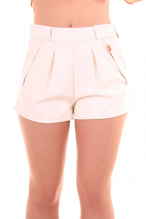 Josh V short Lianne in white leather, Sahara Collection