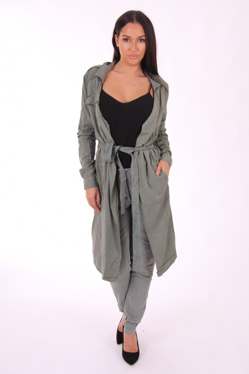 Isla Ibiza trench jas in army