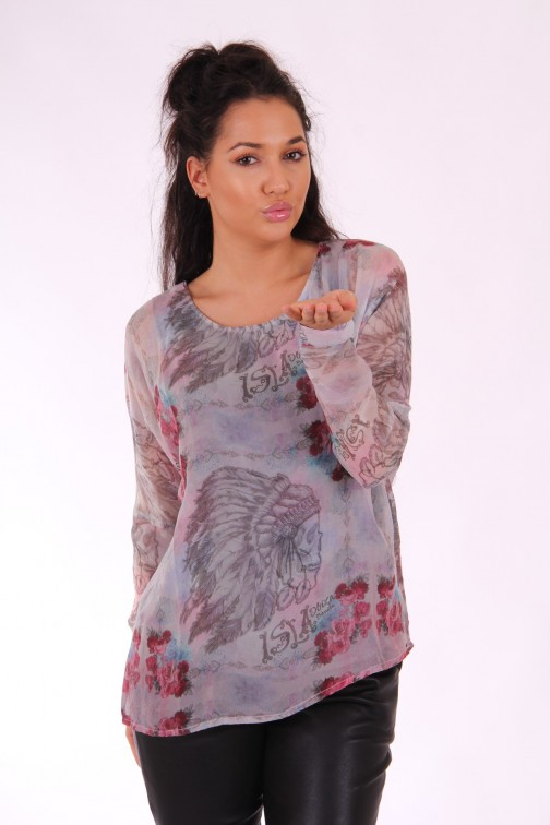 Isla Ibiza blouse INDIAN in grey