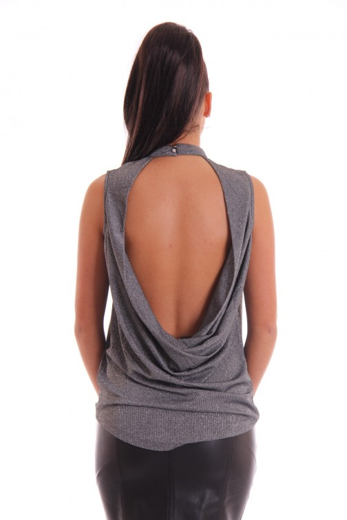 Supertrash Tiara open back top in silver