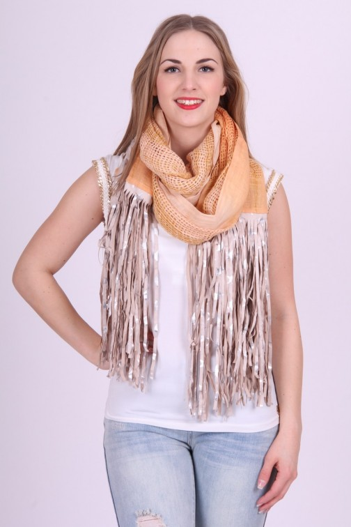 B.loved fringe sjaal in koraal nude