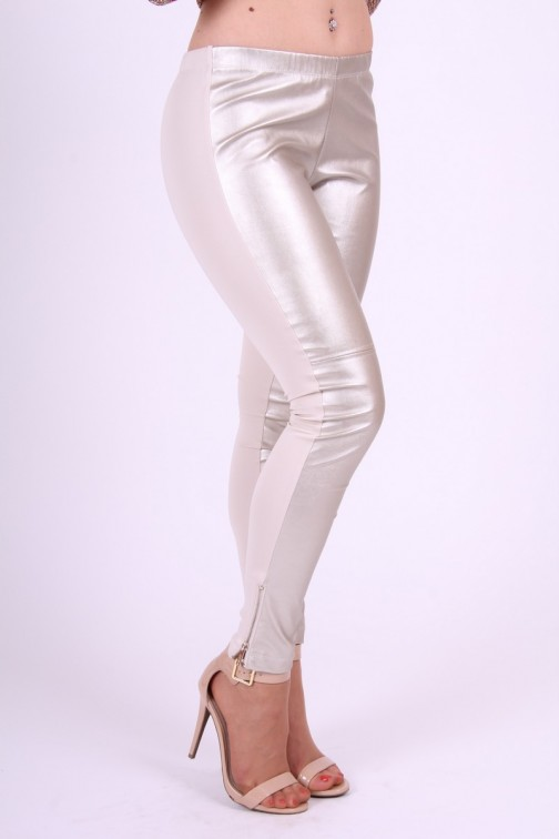Gaudi leather leggings with silver