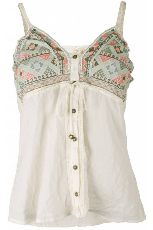Isla Ibiza embroidered top in cream