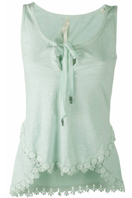 Isla Ibiza top with lace in turquoise