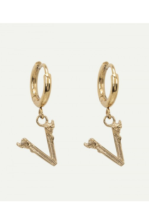 Josh V Anna earrings in goud - V logo