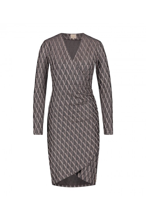 Josh V Rosyn dress in clay - V logo