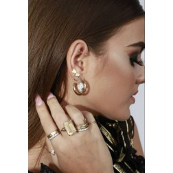 Reinders headlogo small hoops diamonds in goud