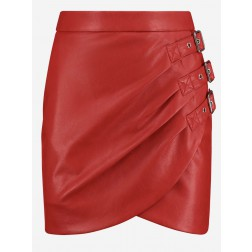 Nikkie Ellis skirt in red vegan leather