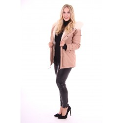 B.loved winterjas in Khaki met wit bont