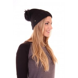 b.loved beanie with fur in black