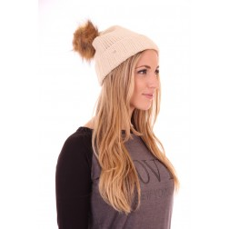 b.loved beanie with fur in cream