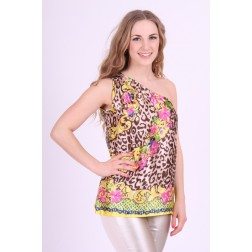 Fracomina top in tropical print, One shoulder.